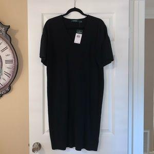 Ralph Lauren Puff Sleeve Midi V Neck Knit Dress